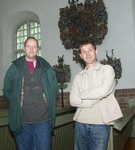 Två heraldiker, Henric Åsklund och Jesper Wasling (2004). Foto: Lennart Wasling