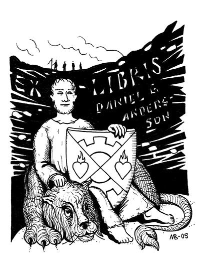 Daniel Anderssons Exlibris av Magnus Bäckmark.