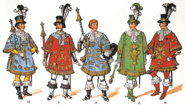 Svenska härolder från 1700-talet för de svenska riksordnarna.