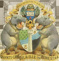 Ankh Morporks medvetet föga heraldiska vapensköld.