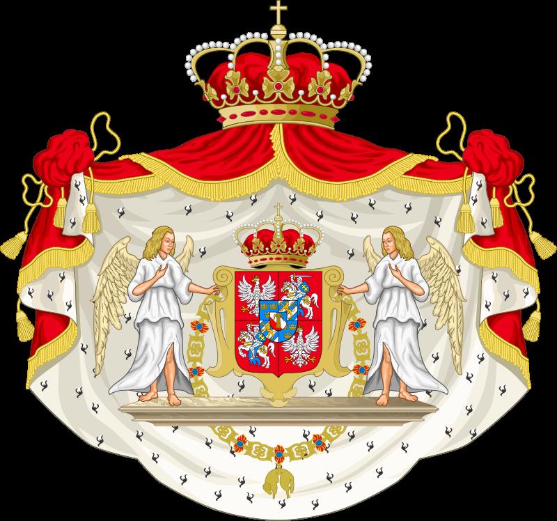 Vapensköld för den polske vasakungen Johan II Kasimir som kung av Sverige (vilket han aldrig blev). Teckning: Tomek Steifer