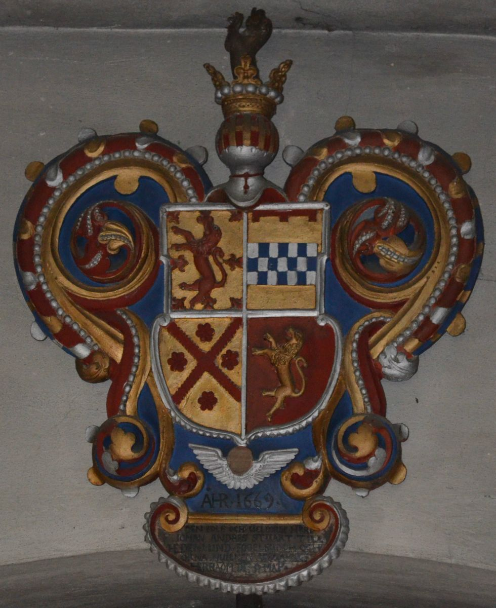 Arms for Johan Anders Stuart (1628-1669) in Vadsbro Chruch, Sweden