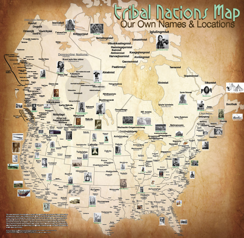 A map of Canada and the continental U.S. showing the original locations and names of Native American tribes.
