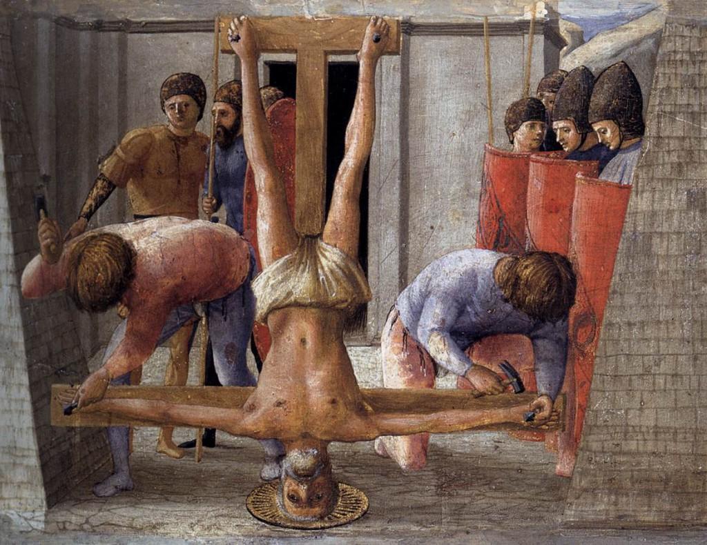 Altartavla som visar Petrus korsfästelse, av Masaccio