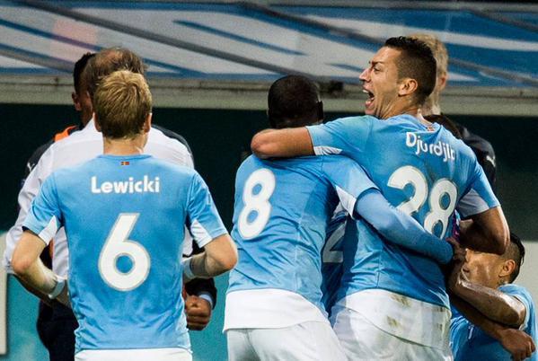 MFF besegrar Celtic iklädda Skånes flagga