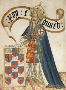 Edward III av England som beskyddare av Strumpebandsorden