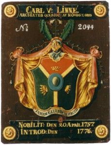 Arms of Carl von Linné, or Linnaeus, with the egg in the center of the shield