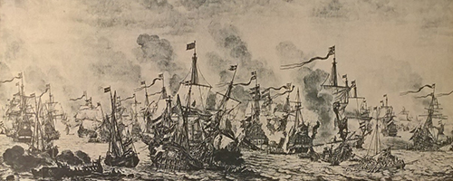 Det svenska skeppet Morgonstjernan sänks av Holländare vid slaget i Öresund 1658.