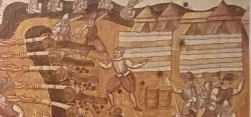 Detalj av Rudolf van Deventers illustration rån 1581 med Sveriges randiga flagga.