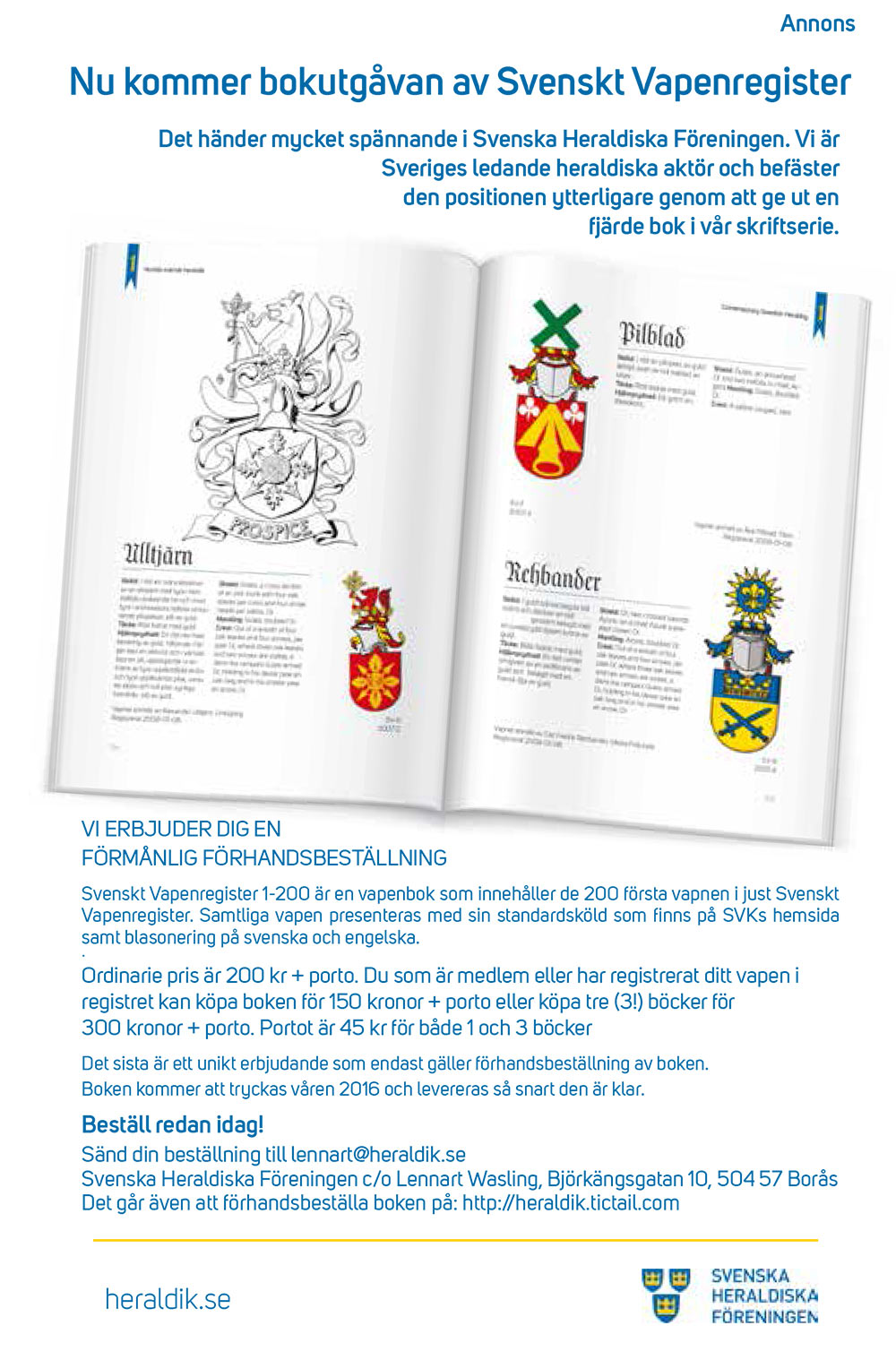 Annons för Svenska Vapenkollegiets bok.
