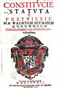 Polska riksvapnet 1637, men vasadynastins vapen i centrum