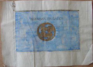 Skiss för Svenska brigadens fana från 1919. Av Gustav Hellström.