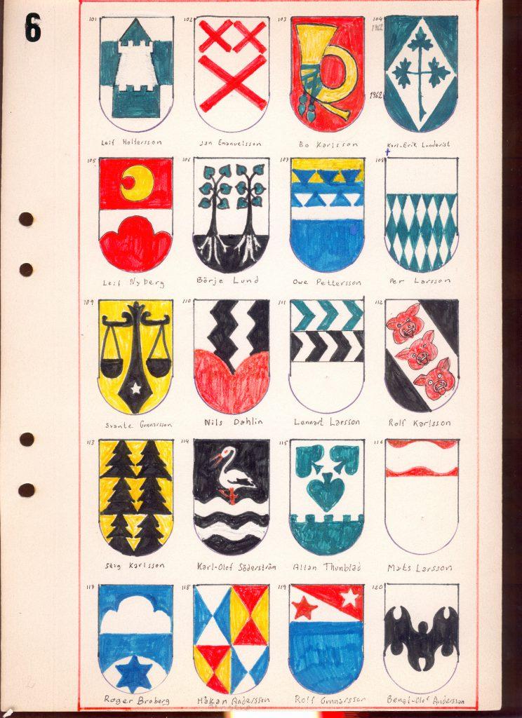 En sida ur Grästorp ishockeyklubbs vapenregister från 1956-63
