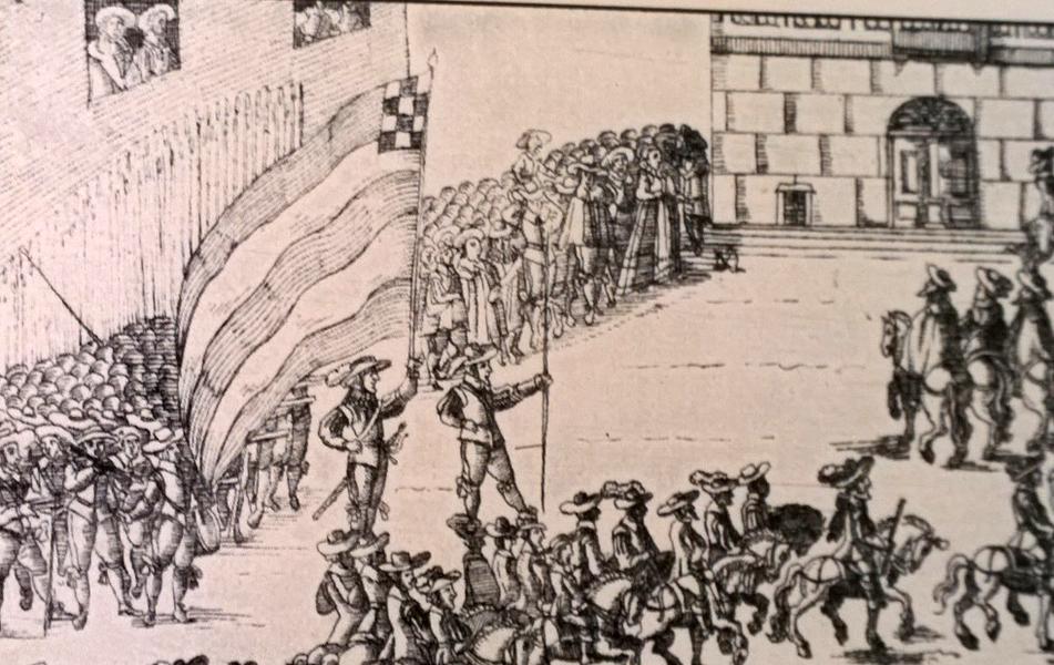 Detalj ut svenska intåget till fredsförhandlingarna i Nürnberg 1648.