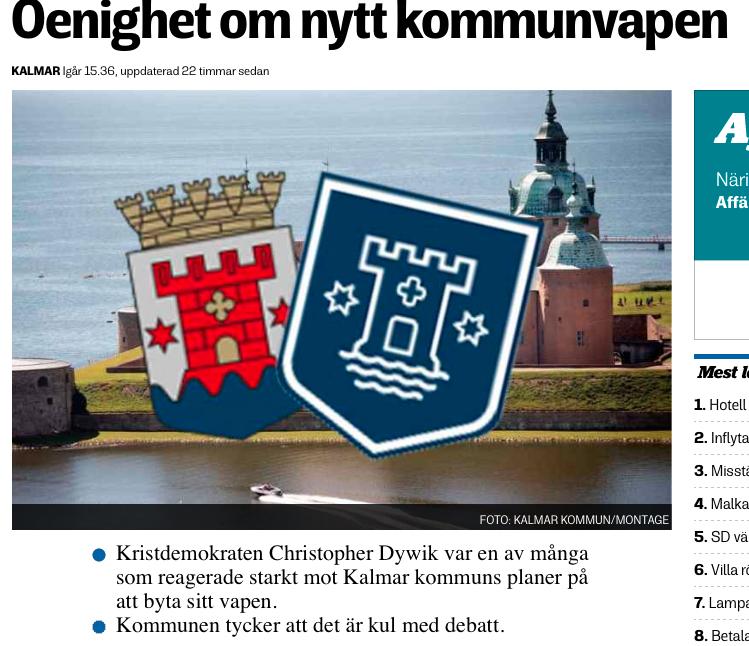 Tidningsurklipp som visar heraldisk debatt i Kalmar