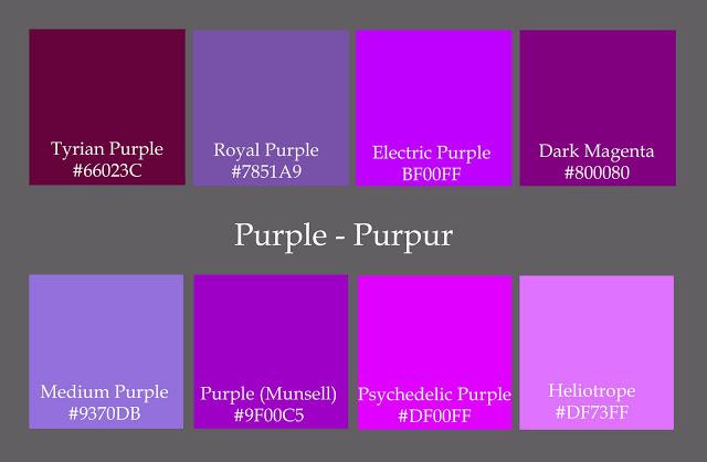 Färgskala som visar varianter av purpur.
