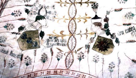 Kyrkomålning som visar Anund Sture och Christina Lejonansiktes vapensköldar
