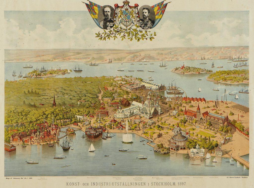 Från Allmänna konst- och industriutställningen 1897, med den ljusa blå flaggan överst.