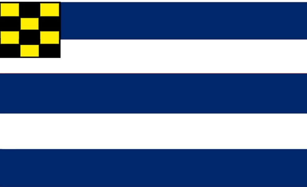 Svensk flagga, randig och schackrutad som USAs flagga, blå och vit respektive gul och svart