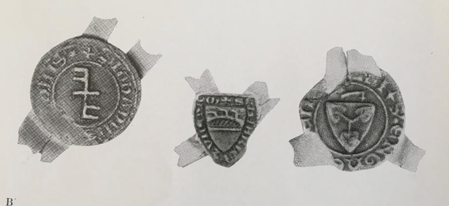 tre sigill för tre ofrälse vapenbärare under tidigt 1300-tal