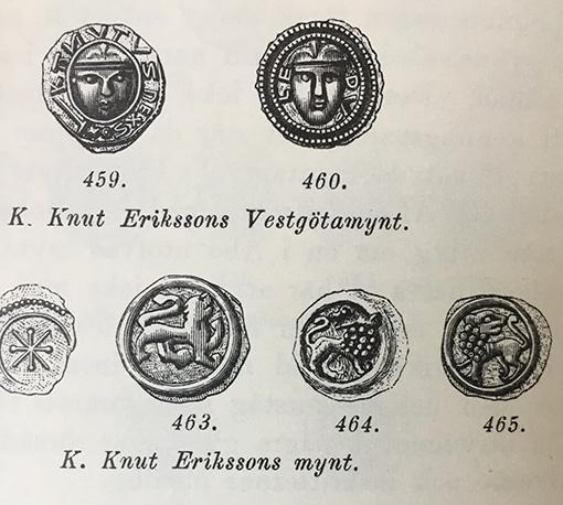 Urval av Knut Erikssons mynt från perioden 1175-1195