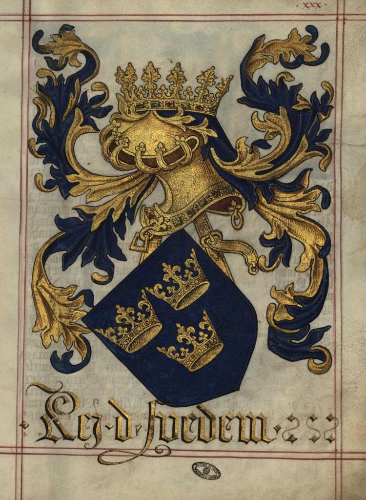 Svenska riksvapnet i en spansk vapenbok från sekelskiftet 1500.