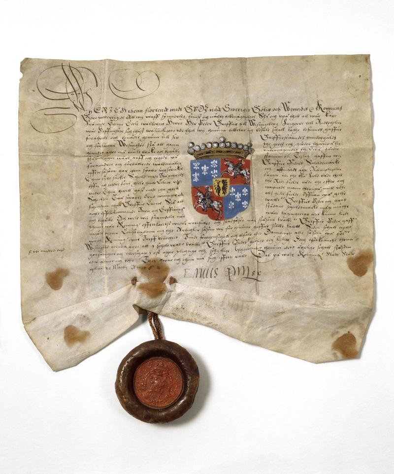 Per Brahes grevebrev från sent 1500-tal.