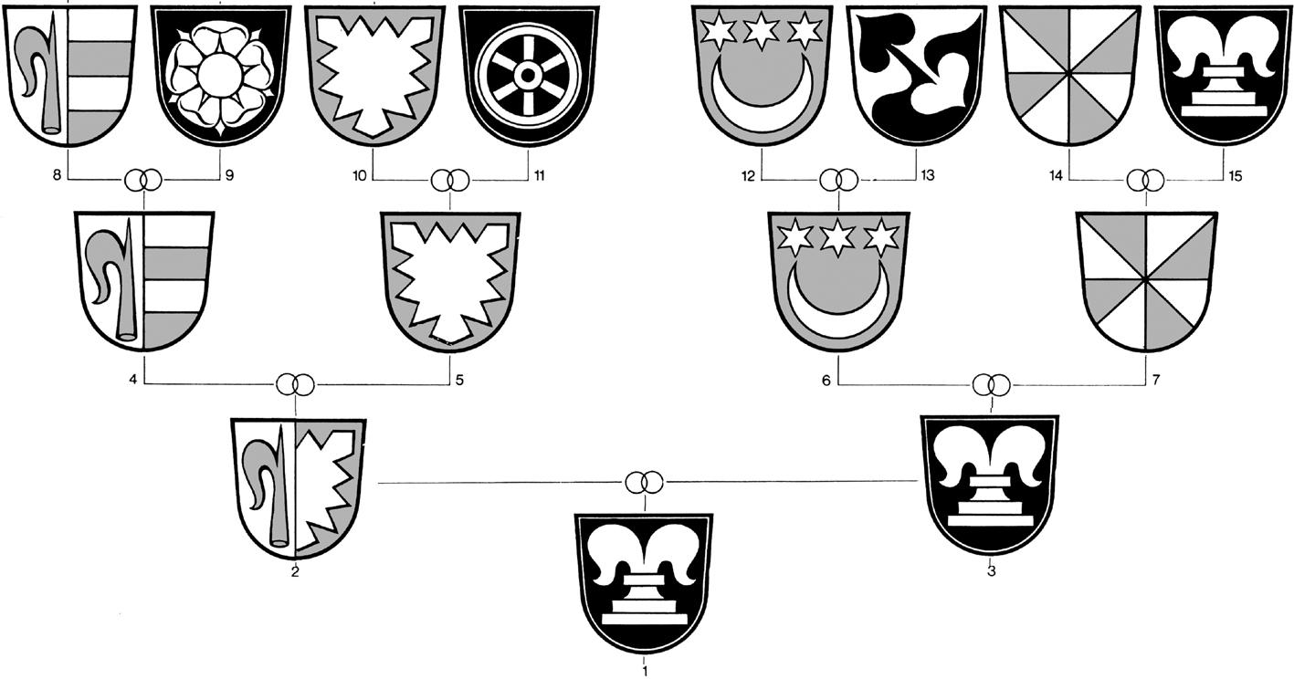En könsneutral succession kan göra en släkttavla väldigt omväxlande där det är svårt att följa arv via fäderne eller möder ne. Collage på original av Walter Leonhard