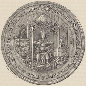 Kristofer av Bayerns sigill, utan det svenska och norska riksvapnet.