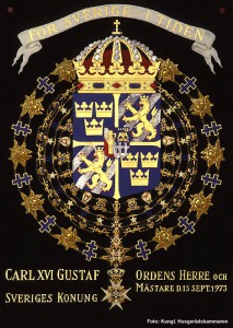 Kung Karl XVI Gustavs serafimersköld. Foto: Kungahuset