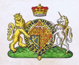 Vapensköld för Elisabeth II av Storbritannien 1947, innan hon blev drottning.