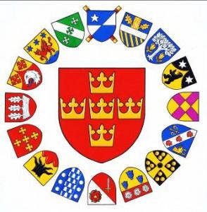 Vapensköldar för Heraldiska sällskpets 16 styrelseledamöter