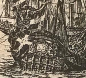 Detalj av svenska skeppet Morgonstjernan, akterflaggan.