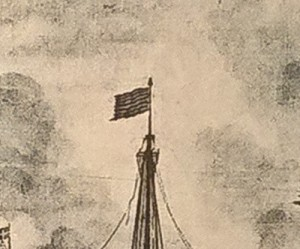 Detalj av skeppet Morgonstjernan, toppflaggan.