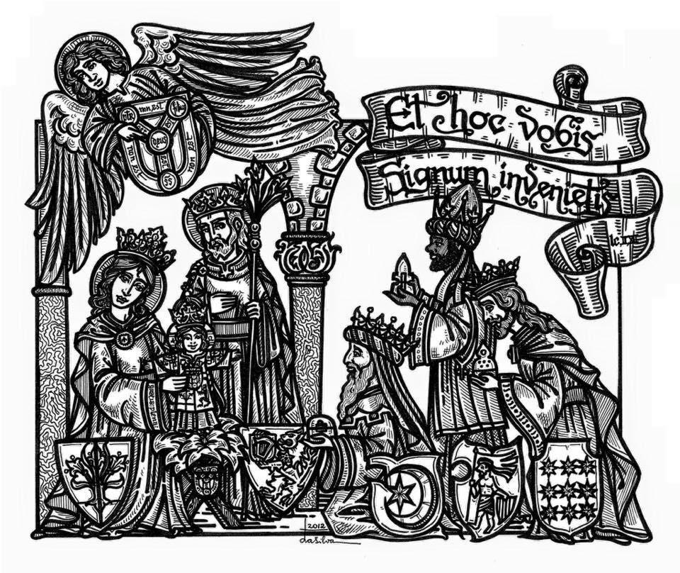 Julkrubban med Gud, Jesus, Marias och de tre vise männen