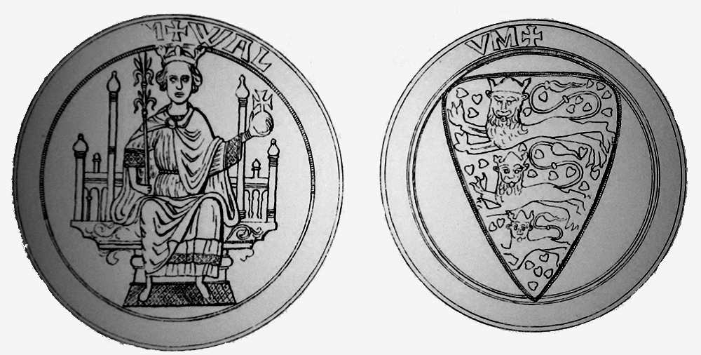 Valdemars första kungasigill från 1254