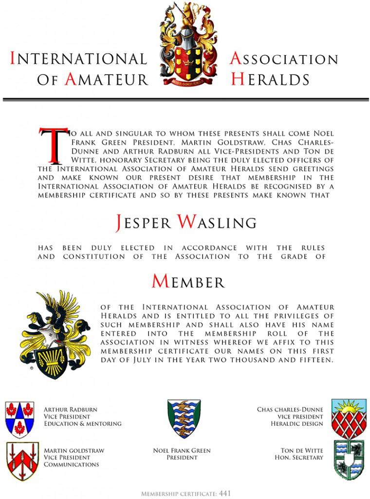 My own Membership Certificate of international association of amatuer heralds