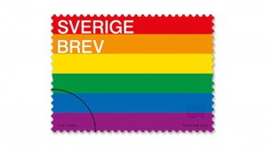 Pride-flaggan som frimärke.
