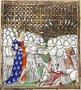 Målning föreställande ett slag under 1400-talet.