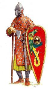 En huskarl från 1000-talet, fullt utrustad med vapen.