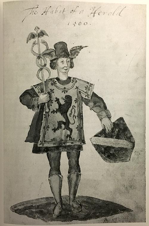 Skotsk härold från c:a 1500, ur Seaton armorial (1591). Observera referenserna till Merkurius, budbäraren.