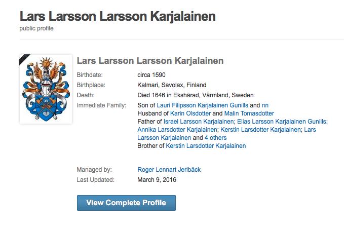 Bilden visar en förfalskad vapenanvändning. Vapenskölden tillhör släktets Lindström.