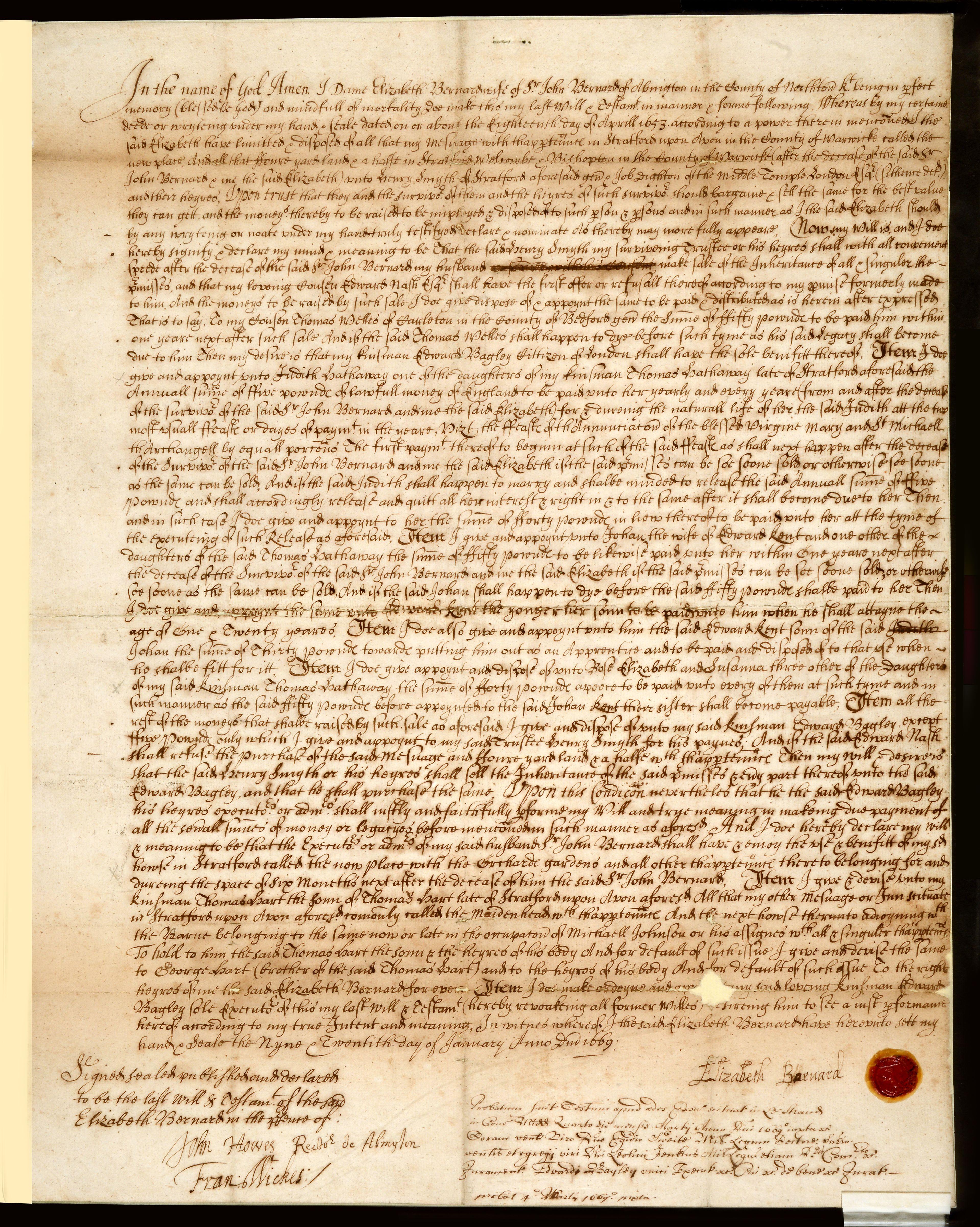 Testamente för Elisabeth-Bernard, barnbarn till William Shakespeare, med släktvapnet på sigillet längst ner.