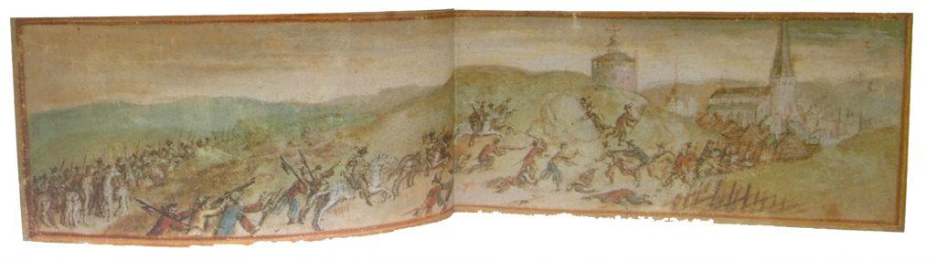 Sverigetavla från sent 1500-tal utan flagga. Målning av Willem Boy eller J Babtista van Uther.
