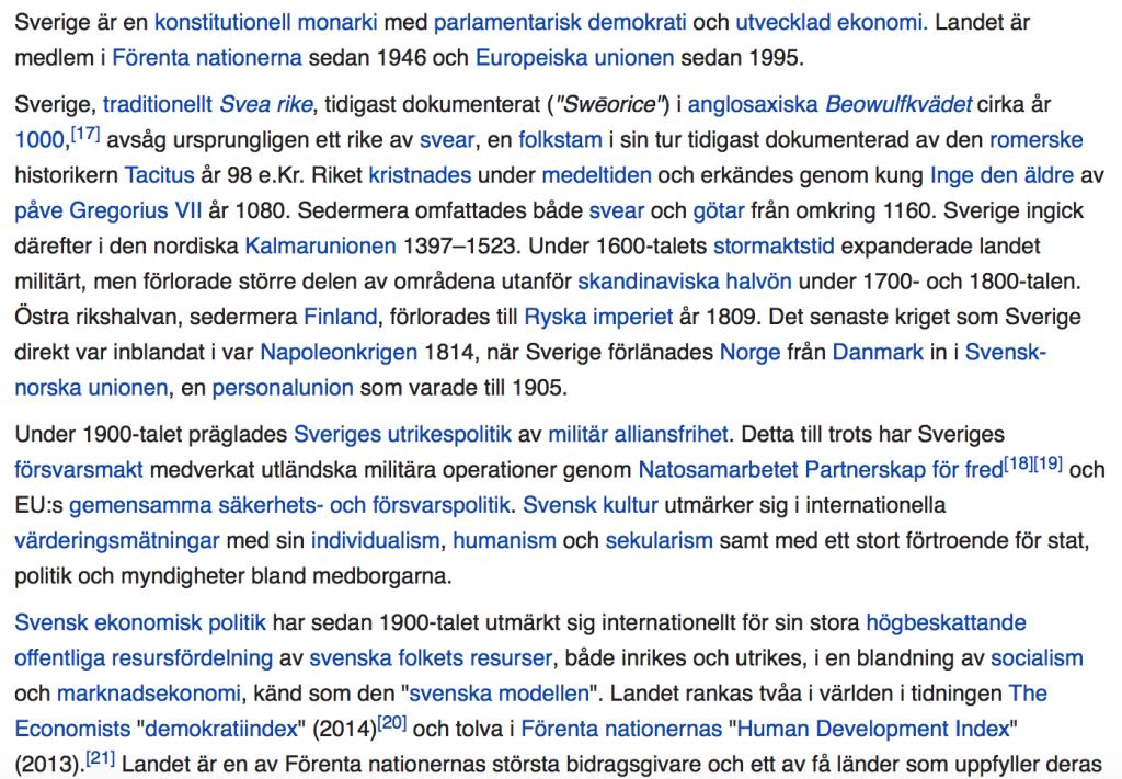 Ögonblicksbild från Wikipedia 27 mars 2017 - Uppslagsordet Sverige