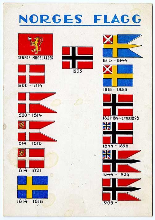Norges flagga, från ett vykort tryckt 1910