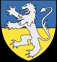 Vapen för Bengt Hafridssons ätt delad i blått och guld samt ett silverlejon