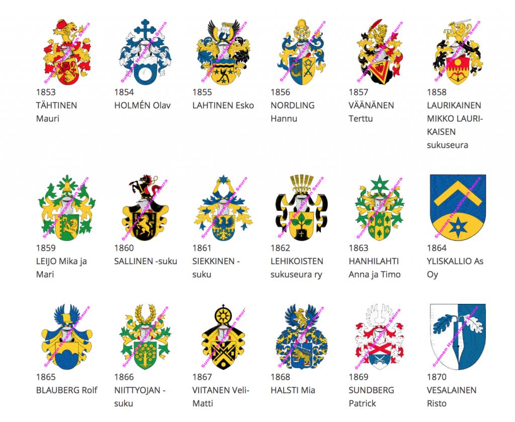 Uppslag med vapensköldar från finska registret