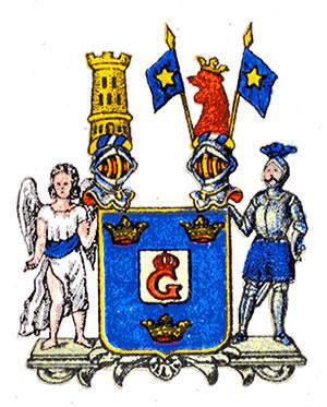 Gustafschölds vapensköld med ett monogram